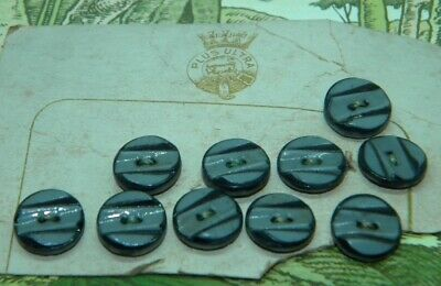 Ten Art Deco 11mm Grey & Blk China Ceramic  Buttons SEWING KNITTING *FREE POST*