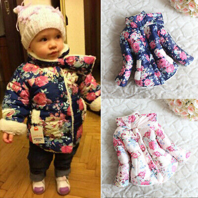 Toddler Baby Girls Floral Printed Coat Outwear Kids Buttons Jacket Warm Winter