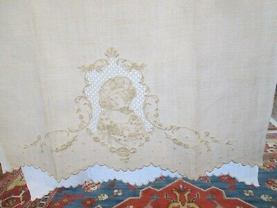 Antique Vintage Figural Appenzell Lace Embroidered Hand Towel Cameo Lady w/Hat