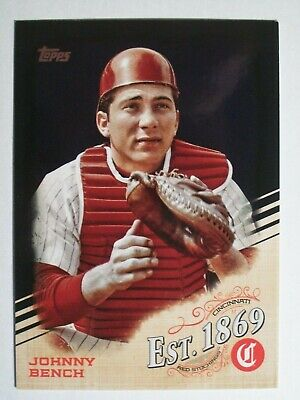 2019 Topps Update EST. 1869 Black Parallel Johnny Bench Reds /299