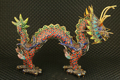 big chinese old cloisonne hand painting dragon statue figure collectable