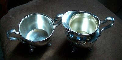 Vintage Poole Silver Co EPNS Creamer & Sugar set 2500 Silverplate Scrolled feet