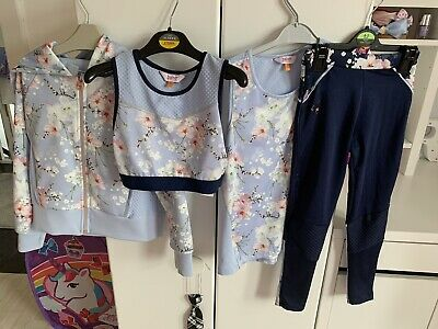 Ted Baker Girls Floral Navy Rose Gold Leggings Top Hoodie Shorts Crop Age 6-7
