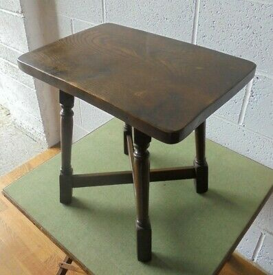 Antique / Vintage Elm Top Coffee Table Or Stool
