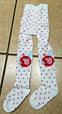 Girls Peppa Pig White Cotton Warm Winter Adorable Soft Tights Size 5/6