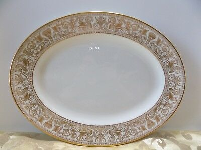 """Wedgwood Florentine Gold Dragon W4219 Oval Platter 15"""" & Quilted Zippered Bag"""
