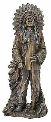 Native American Chief Sitting Bull with Rifle Statue Sculpture HOLIDAY GIFT