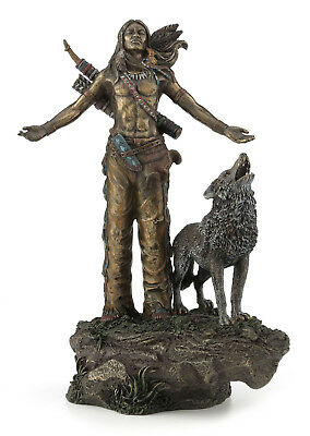 Native American Indian Warrior Praying with Wolf Statue Sculpture HOLIDAY Gift