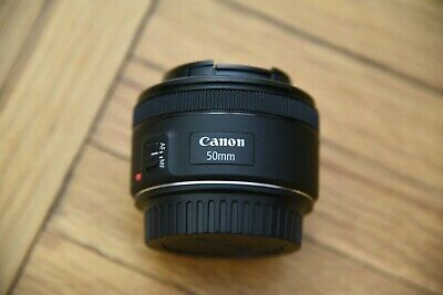 Canon EF 50mm f/1.8 STM Lens with Lens Cap and Hood, Excellent Condition
