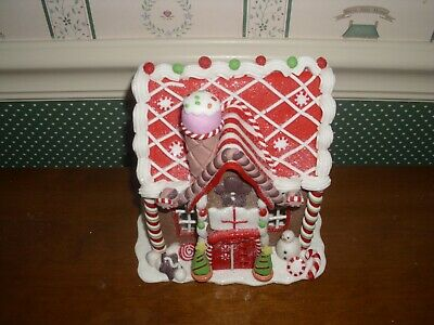 """Kurt Adler-8""""H- B/O Led Brown Gingerbread House With Green And Red Accents-New"""