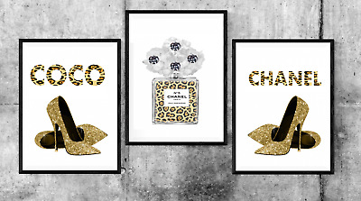 SET OF 3 COCO CHANEL Perfume Leopard Home Poster Prints Decor Wall Art Gift
