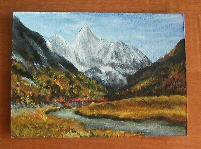 Original ACEO acrylic painting, mountain landscape river
