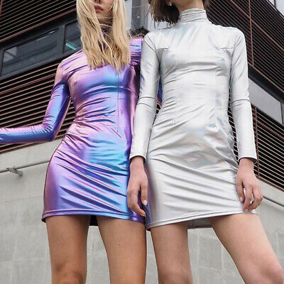 Womens Sexy PU Leather Shiny Bodycon Pencil Long Sleeve Turtleneck Mini Dress