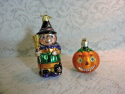 Jack-O-Lantern & Witch Halloween Blown Glass Ornaments - Old World Christmas