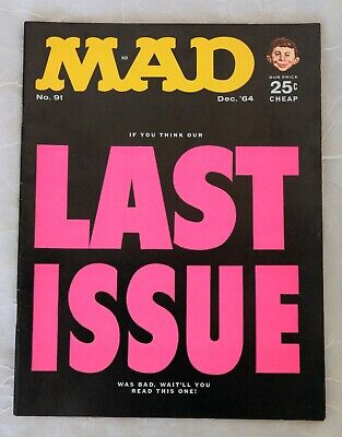 Mad Magazine No. 91 Dec '64 Issue Last Issue  Cover -  Very Good Condition