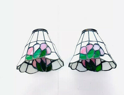"""Two Beautiful Stained Glass Mini Floral Lamp Shades 6.5"""" Wide 6"""" tall"""