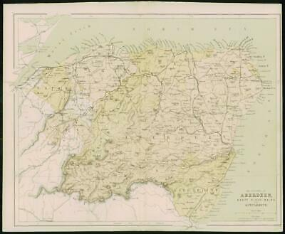 1868 Original Colour Antique Map ABERDEEN BANFF ELGIN KINCARDINE Scotland (FC15)