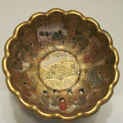 Antique Japanese Satsuma H.p. Bowl - Meiji Period