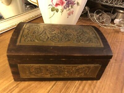 Vintage Decorative Hand Carved Wooden Box With Brass Inlaid Panels  Excellent