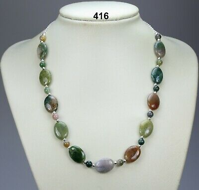 """Oval/round multi-colour Indian agate necklace, silver-plated balls, chain 19"""""""