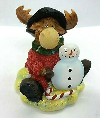 Axicom MOOSE WITH SNOWMAN Resin Figurine Decor Christmas Winter Moose Family