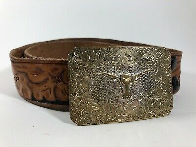"Brown Black Tooled Leather Belt Boys Youth Size 24? 1.5"" Wide Western w/ Buckle"