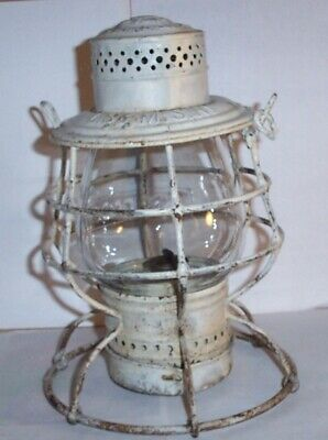 Vintage Railroad Lantern, LS & MS Ry embossed globe, Antique Train Collectible