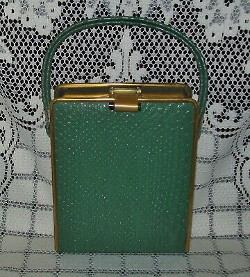 SMALL VINTAGE BRASS & FAUX GREEN REPTILE SKIN VANITY CLUTCH HANDBAG England