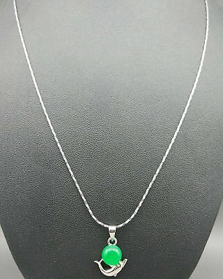 Exquisite Silver Inlaid Natural Jade Dolphin Necklace & Pendant z2007