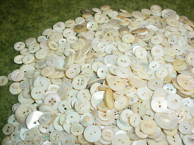 Vtg Antique 1 Lb Mother Of Pearl Mop Buttons Tiny To Large Sew Crafts Used