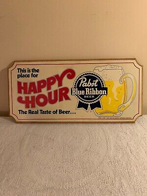 Pabst Blue Ribbon Happy Hour Sign Vintage 1984