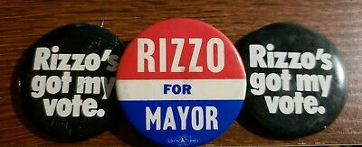 FRANK RIZZO Philadelphia Mayoral Campaign Buttons/Pins LOT OF 3