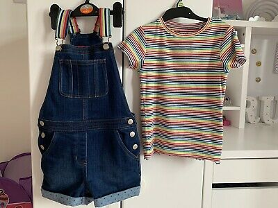 Mini Boden Denim Short Dungarees Rainbow Strap Next Stripe Top Age 7 6-7 Years