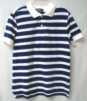 RALPH LAUREN POLO Boys' S/S Pullover Striped Polo-Size 5-Navy/White/Royal-NWOT