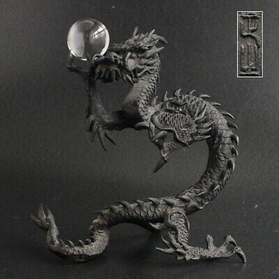Antique Meiji Japanese Bronze Dragon Statue Signed SHOZAN with Crystal Ball
