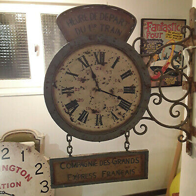 COUNTRY CORNER CLOCKMAKERS  HORLOGE DOUBLE SIDED CLOCK vintage