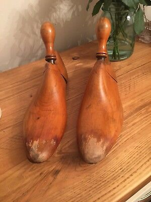 """Vintage Pair Of Wooden And Brass 11.5 """" Shoe Lasts In Lovely Original Condition"""