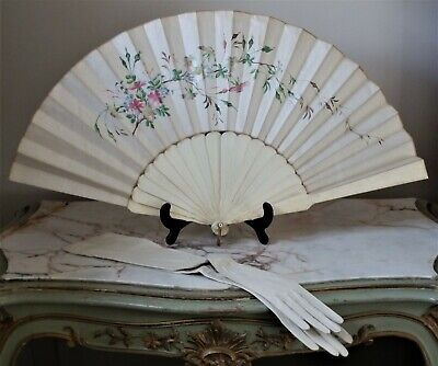 Antique Silk & Bone Bovine Hand Painted Floral Hand Fan