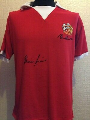 Manchester United Retro 1970s Shirt Signed Bobby Charlton Denis Law Guarantee