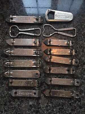 Lot of 6 Stainless Beer Bottle Openers Poppers Schenley Stegmaier