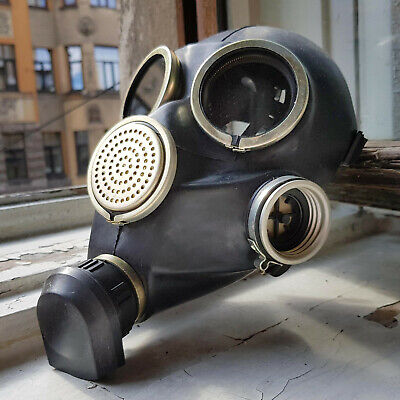 Genuine Russian USSR Military Soviet Army Black Gas Mask GP-7 New NOS
