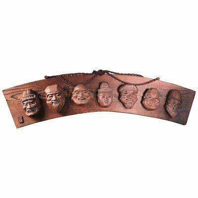 """Japanese Fine Antique """"Seven Lucky Gods"""" Sculptural Wall Plaque, Hand-Carved"""