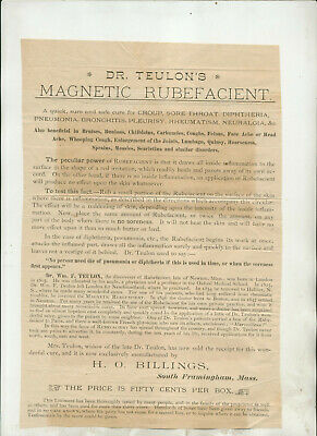 Undated Dr Teulon's Magnetic Rubefacient Circulat/Broadside