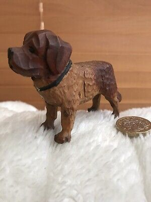 Beautiful Antique Carved Wooden Black Forest St Bernard Dog Figure✨