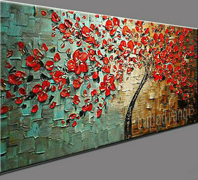 "AA227# Modern Large 48"" Hand-painted Abstract oil painting Red Tree Unframed"