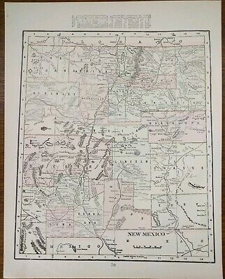 """Vintage 1903 NEW MEXICO TERRITORY Atlas Map 11""""x14"""" Old Antique ROSWELL SANTA FE"""