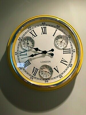 Retro Vintage London Large Metal Multi Dial Wall Clock White Face