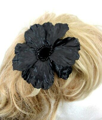 Large Black Poppy fascinator clip fixing all profits to the British Legion