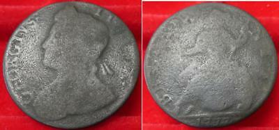 Mule George II obv, Geo III 1777 rev, non regal halfpenny USA colonial interest