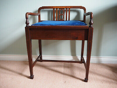 Beautiful Edwardian Piano Stool with Inlaid Detailing and Storage